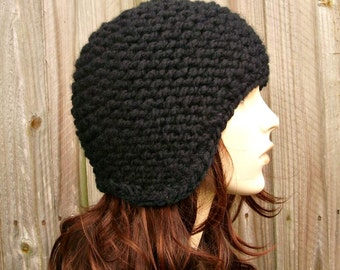 Knit Hat Black Womens Hat Mens Hat - Garter Helmet Black Knit Hat - Black Hat Black Beanie Black Ear Flap Hat Womens Accessories Winter Hat