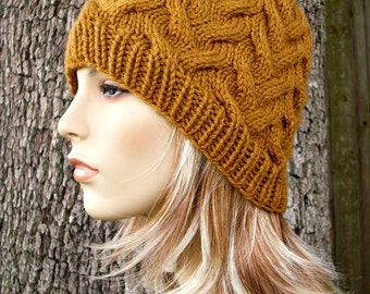 Honey Brown Cable Beanie Womens Hat - Brown Knit Hat Brown Hat Brown Beanie Womens Accessories - READY TO SHIP