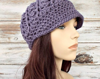 Crochet Hat Purple Womens Hat Purple Newsboy Hat - Pippa Swirl Crochet Newsboy Hat in Violet Purple Crochet Hat - Womens Accessories