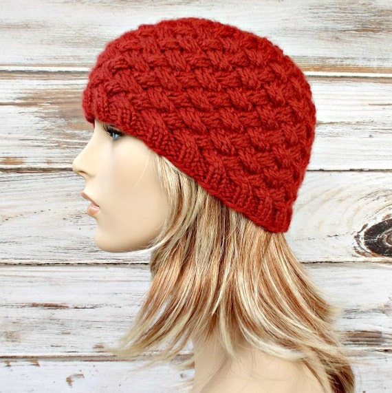 How To Knit A Basket Weave Beanie : Reduced off knit hat womens harlow diagonal basket