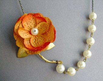 Statement Necklace,Fabric Flower Orange Necklace,Bridesmaid Jewelry Set,Ivory Pearl Jewelry,Beadwork Jewelry,Gift (Free matching earrings)