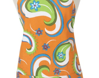 Retro Modern Orange Paisley Long Apron