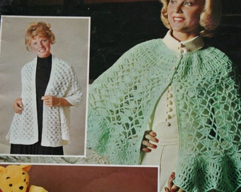 Knitting Patterns Crochet Shawls, Ponchos and Stoles Beehive Patons Color Series 7 Women Vintage Paper Original NOT a PDF