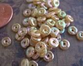 Vintage Sequins Puffed Beige Tan Rainbow Gelatin 6mm lot of 50 donuts