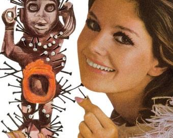 Original Collage Art on Paper Voodoo Queen Priestess Freaky Art Black Magic Odd Artwork Voodoo Doll Mixed Media Art