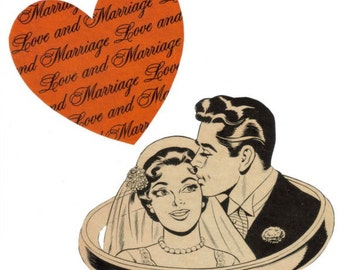 Wedding Wall Art Original Collage on Paper Bride and Groom Art Retro Wedding Artwork Happy Couple in Love and Marriage
