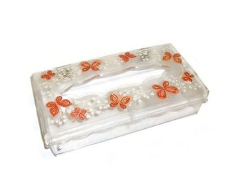 Vintage Plastic Tissue Box | Clear Plastic Box With Butterflies