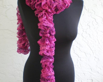 hand Knit ruffle scarf  ~ spirals ~ fushia phlox sequins