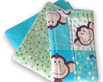 Zorb Booster Inserts. Small Prefold Cloth Diaper Set of 3. Reusable Cotton Flannel Baby Diapers. Burp Cloths. Changing Pads. Trifold Soaker