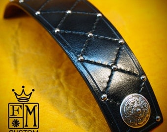 Black Leather cuff bracelet harlequin Diamonds and studs made for You In Brooklyn NYC by Freddie Matara