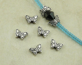 5 TierraCast Tiny Small Butterfly Beads > Insect Bug Garden Spring Monarch - Silver Plated Lead Free Pewter - I ship Internationally 5650
