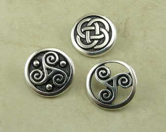 3 TierraCast Triskele & Celtic Knot Button Mix Pack > Irish Ireland Trinity Symbol - Silver Plated LEAD FREE Pewter - I ship Internationally