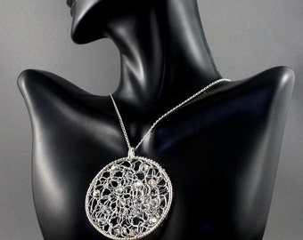 Fine silver crochet necklace. Silver mesh necklace. Knitted wire necklace with Swarovski crystals
