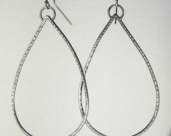 Large Tear Drop Earrings, Teardrop Dangle, Lightweight Everyday Casual Textured Silver Metal Sterling Silver Large Dangles Boho Rustic