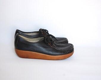black leather PLATFORM granny oxford shoes 8