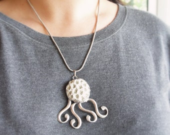 Octopus Necklace - Ceramic, metal, solder, Fantasy Statement Necklace one of a kind