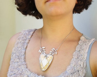 Geometric Organic Leaf Necklace, Art Deco style, mother of pearl, metal, solder