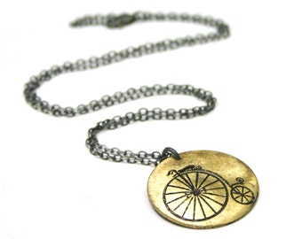 SALE - Steampunk Bicycle pendant necklace - etched brass metalwork - penny farthing bike