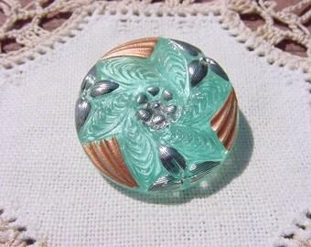 Seafoam Green Metallic Floral Wreath Czech Glass Button