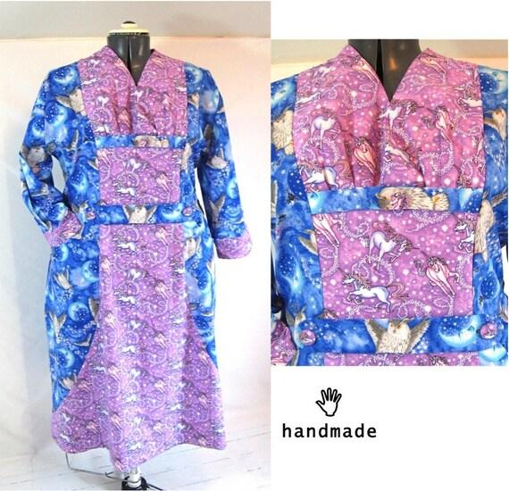 halloween costume, plus size, magical, unicorn + owl cotton prints, Slimuette Dress, long sleeve dress, handmade -- 51B-44W-58H
