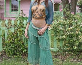 Festival Harem Showgirl Belly Dancer 20s Beaded pants skirt