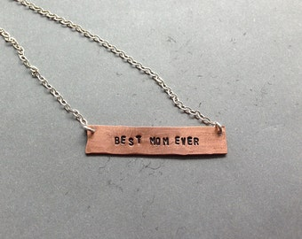 Hand-stamped Copper Best Mom Ever Necklace
