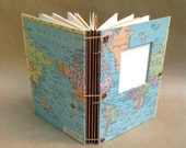 Expandable Travel Journal with Vintage World Map, pockets and envelopes for photos, scrapbook, art & collecting - Made to Order