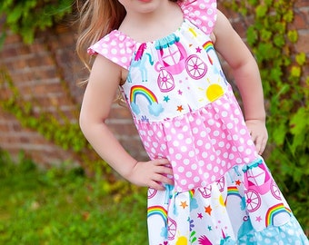 Unicorn Dress - Rainbow Unicorn Dress-  Girls Rainbow Dress- Rainbow Party-  Unicorn Party- Rainbow Birthday- Unicorn Birthday- Party Dress