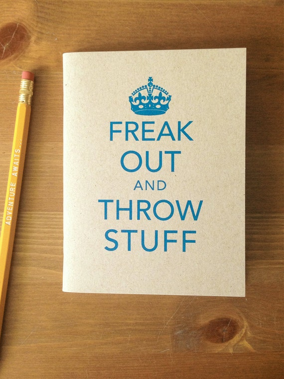 Freak Out and Throw Stuff Pocket Notebook Keep Calm Parody Journal Recycled