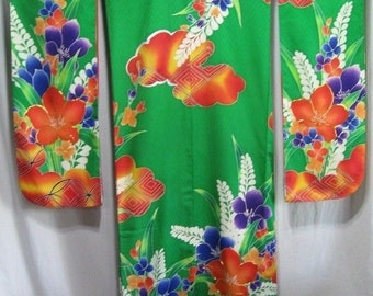 Vintage Japanese Wedding Kimono Kakeshita Bridal Dress Women's - Bright Green Glory