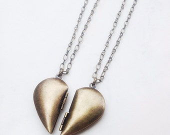 Heart Locket Necklace Set - Two Halves Equals One Heart - BFF lockets - Antique Brass