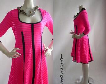 Vintage Spandex Shock Dress  NEON Pink Stretch Sheer Nanette LEPORE Designer size 6 8 10 USA