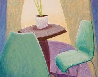 Botanical Drawing Amaryllis on Table Interior with Two Aqua Kartell Chairs