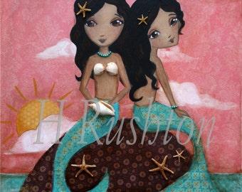 Mermaid Art - Mermaids -Children Decor - Sisters Art Print -Kids Mermaid Art -Afro American- Print Sizes 8x10 and 5x7