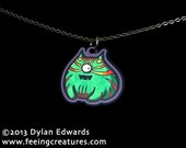 Oddsbaldistone - acrylic fat cat monster necklace - Feeping Creatures jewelry