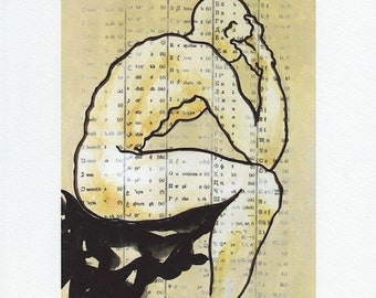 giclee print of pen and acrylic, male figure, Pirithous