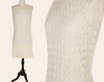 Vintage 60s Sheath Dress / Cream Wool Dress / Pointelle Dress