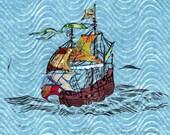 Sailing Ship XIV - Block Print with Mixed Papers - Lino Block Print Historic Sailing Ship with Collaged Japanese Papers & Ephemera