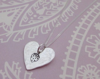 Silver Heart Necklace With Strawberry Print