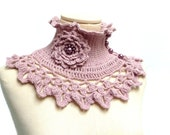 Crochet Neckwarmer / Collar with turtleneck, ruffle neckline and lace collar - Made to Order - choose the color  - NINU'