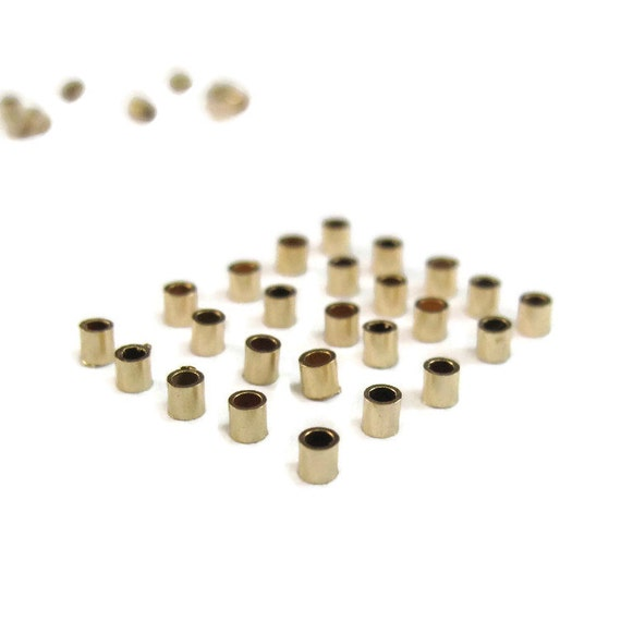 Gold Crimp Beads, 25 Gold Filled Crimp Tubes, 25 Pieces, 2x2mm Crimping Beads, Gold Filled Findings, Crimp Bead, Jewelry Finishing (F-1112f)