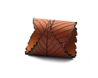 Elm Leaf Bracelet - Laser Cut Leather - Sienna