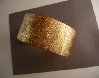 Brass Cuff Bracelet Victorian Etched