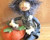 Primitive Halloween  Folk Art Witch Art Doll