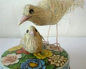 Doves in Flowers - Mother and Baby Chick, Original Hand Carved Wood Mixed Medium on Vintage Powder Tin