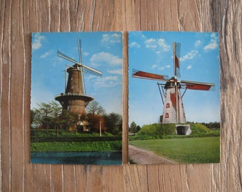 2 1960s Windmill Postcards from Holland