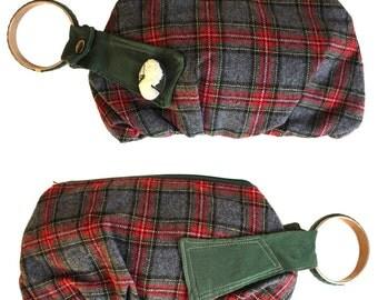 Plaid Wristlet Handbag - Red, Forest Green, Black & Gray Plaid with cameo