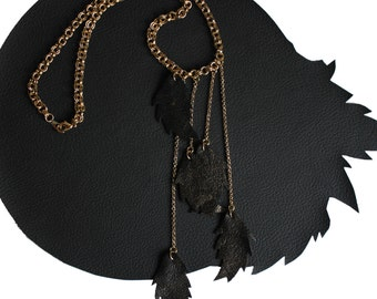 Cascading Leather Feather Necklace black and gold