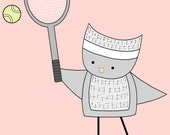 Pink Nursery Art, Pink and Grey Nursery, Tennis Nursery, Owl Playing Tennis, Baby Art, Nursery Decor, Owl Art, Pink Nursery Print