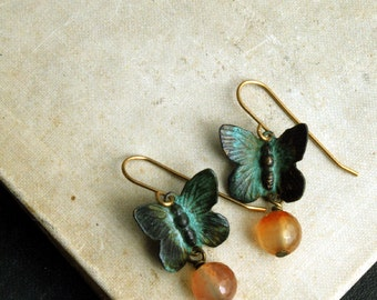 Butterfly Earrings, Verdigris Brass, Carnelian Bead, Bohemian Earrings